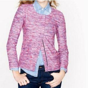 J. Crew Micro Tweed Poppy Pink Jacket/Blazer